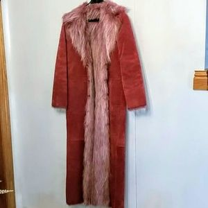 Pink Suede Maxi Coat size small Faux Fur Lined